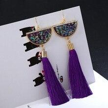 LiuXSP Tassel Earrings For Women Elegant Geometric Shape Long Pendant  Fashion Jewelry Fringe Hoop Accessories
