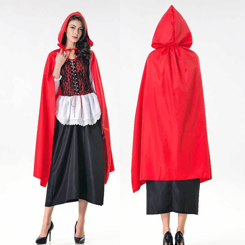 Hot Sale Little Red Riding Hood Costume for Women Fancy Adult Halloween Cosplay Fantasia Dress+Cloak Cosplay Costume For Party