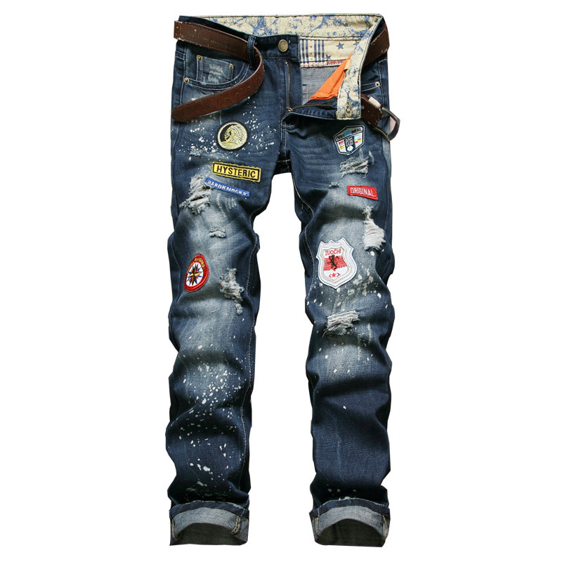 цены  New Designer Men Denim Pants With Patches Slim Fit Ripped Jeans For Man Rap Distressed Jean Trousers Patchwork Straight Pants
