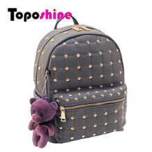 Toposhine 2016 PU Leather Rivet Women Backpacks Solid Bear Colorful Women Shoulder Bag for Women Girl Backpacks 3 Colors 8804