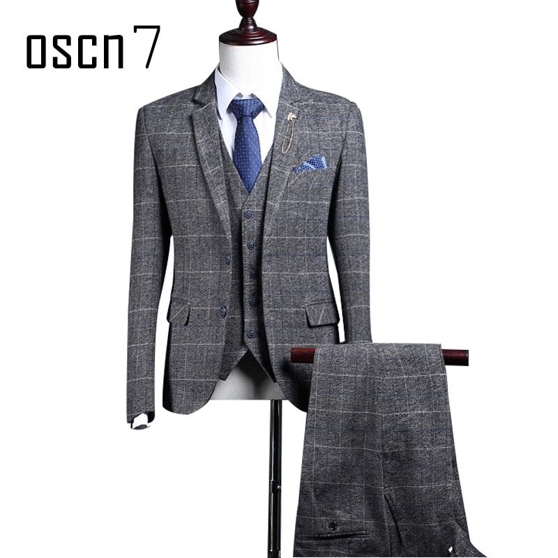 OSCN7 Gray Plaid Wool Suit Для мужчин Slim Fit Бизнес костюмы для торжественных случаев для свадьбы 2017 бренд Индивидуальные костюмы (Блейзер + жилет + Штаны)