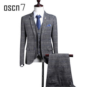 593dc122426 OSCN7 Gray Wool Men Slim Fit Tailor Made Suits vest pants