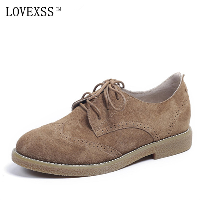 LOVEXSS Genuine Leather Brogue Shoes Oxfords Brown Apricot Casual Lace-Up Flats 2017 Spring Autumn Student Brogue Shoes lovexss oxford shoes 2017 spring autumn toe lace up white woman flats genuine leather derby shoes women big size 33 42 oxfords