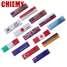 Car Styling 3D aluminum UK Japan Germany USA Russia France Sweden Malaysia national flag Emblem Badge Motorcycle Sticker