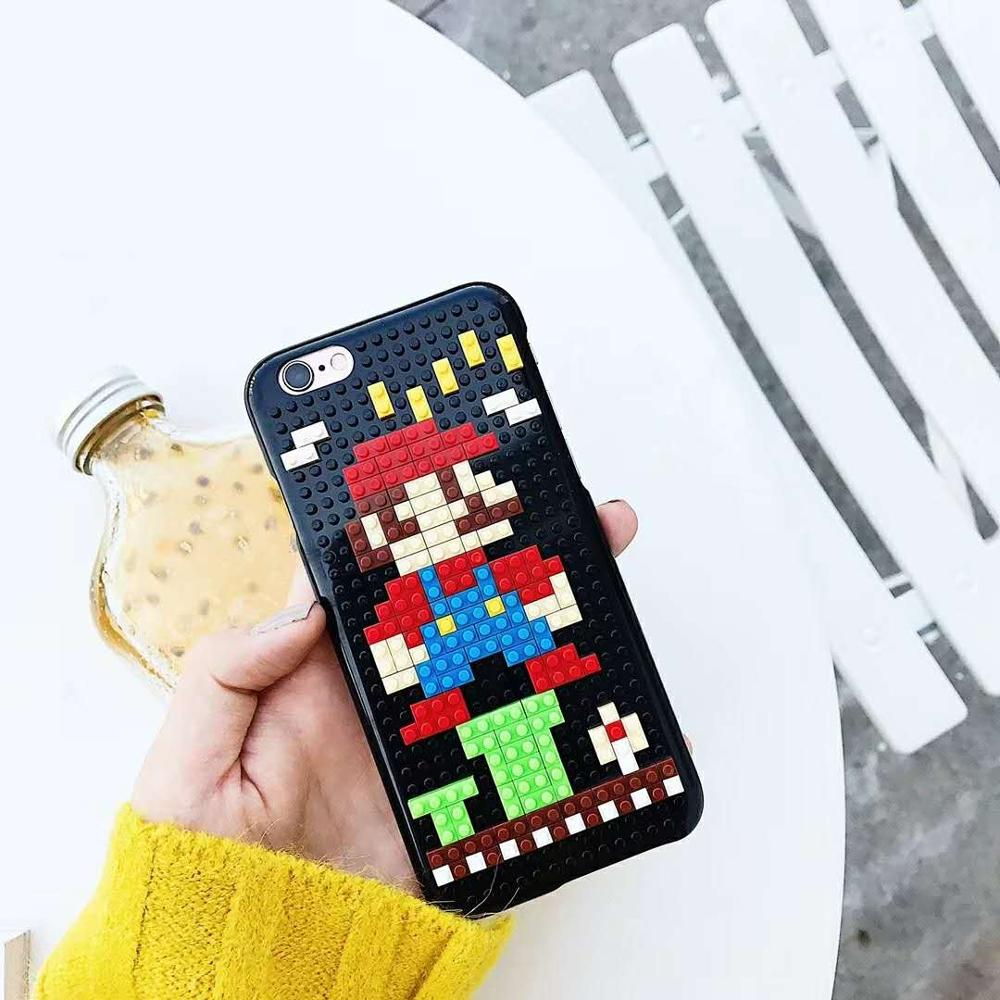 detailed look 3a0e6 63edb DIY Legos Case For Iphone X XS 6S 7 8 Luxury Cover Half A Pack Hard Cover  For Iphone 8 Plus 3D Case For Huawei Xiaomi Oppo VIVO