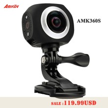 Hot AMK360S 1″ dual lens 360*360 Degree 3008*1504 Panorama Camera 220 fish-eye 960P HD WiFi Sport Camera Action VR Remote Watch