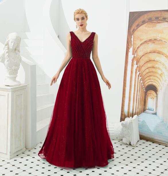 Vestiti Eleganti Donna.Green Tulle Beaded Crystal Evening Dresses Prom Dress 2019