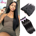 7A Peruvian Straight Virgin Hair With Closure Ear To Ear Lace Frontal Closure With Bundles Ms Lula Hair With Frontal And Bundles
