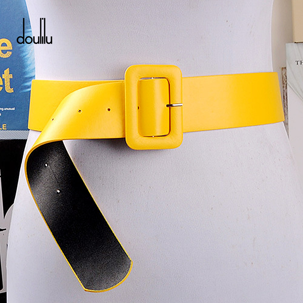 2018 wide strap Female   belt   PU dress canonicals Unique Smooth buckle Men women's   Belt   yellow Length 105cm