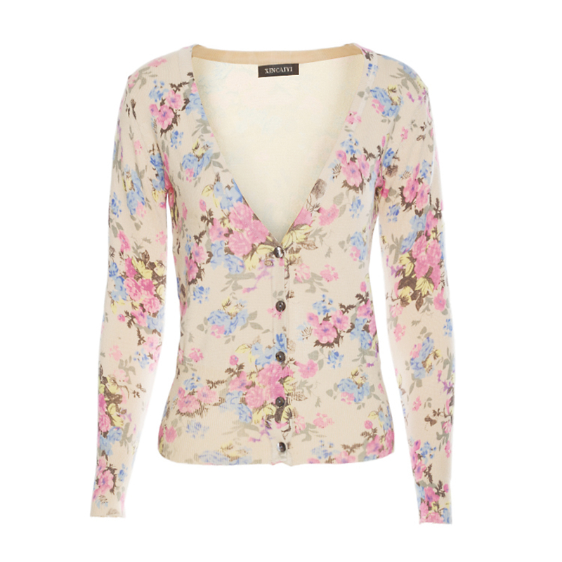 SexeMara Elegant 3D Floral Print Pink Sweater Women Screw Thread ...
