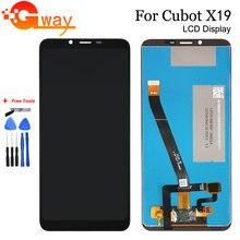 Display lcd cubot x19 5.93 polegadas 100%, testado com touch screen e digitalizador, montagem para cubot x19, acessórios para celular
