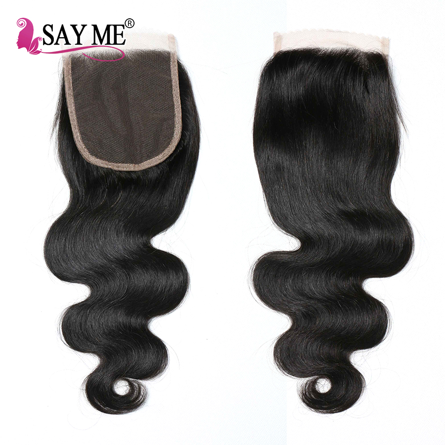 SAY ME Hair Brazilian Body Wave Closure Human Hair Weave Remy Hair Middle Part Free Part 4x4 Lace Closure With Baby Hair 1 Piece
