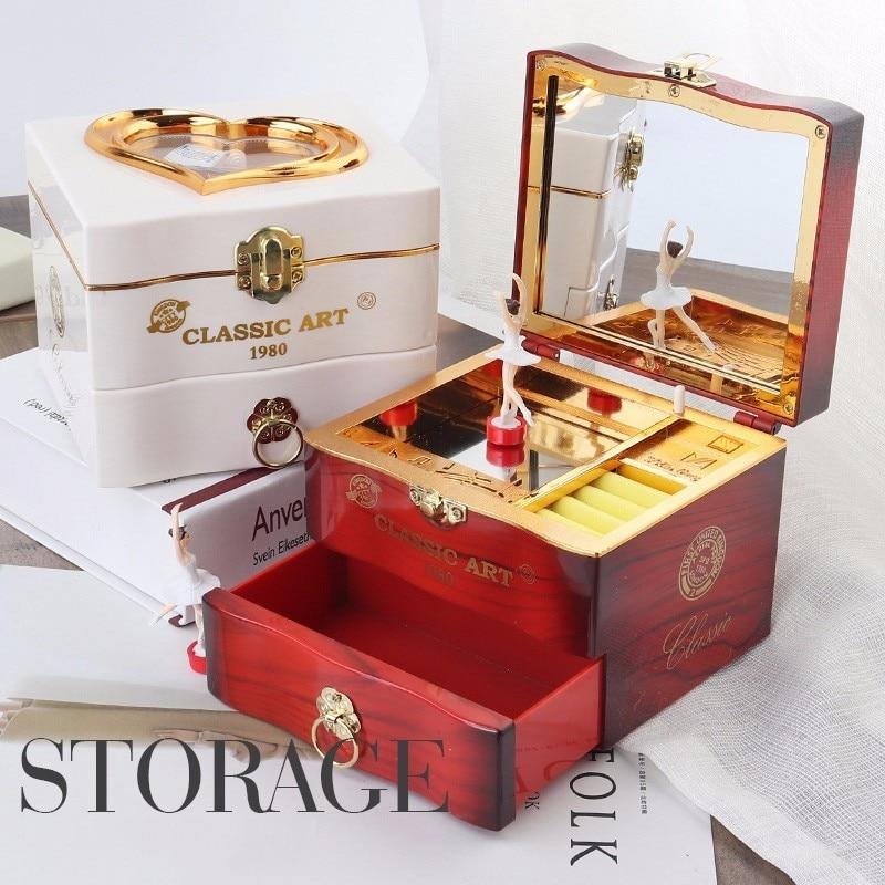 Caja de música clásica giratoria de bailarina de Piano caja de joyería de plástico caja de joyería niñas manivela de mano mecanismo de música regalo de Navidad
