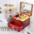 Clássico rotativa bailarina piano caixa de música relógio caixa de jóias de plástico meninas manivela mecanismo música presente natal