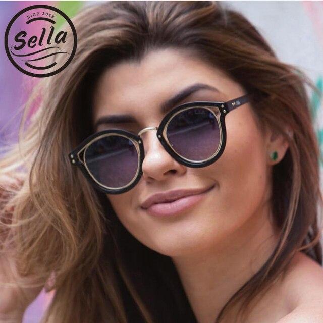 1760e192ee3 Sella European Style Fashion Women Cateye Sunglasses Brand Designer Popular  Oversized Round Gradient Lens Sun Glasses