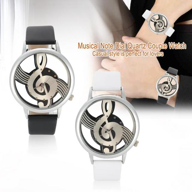 2Colors Quartz Analog Couple Watch Round Hollow Musical Note Dial PU Strap Wrist