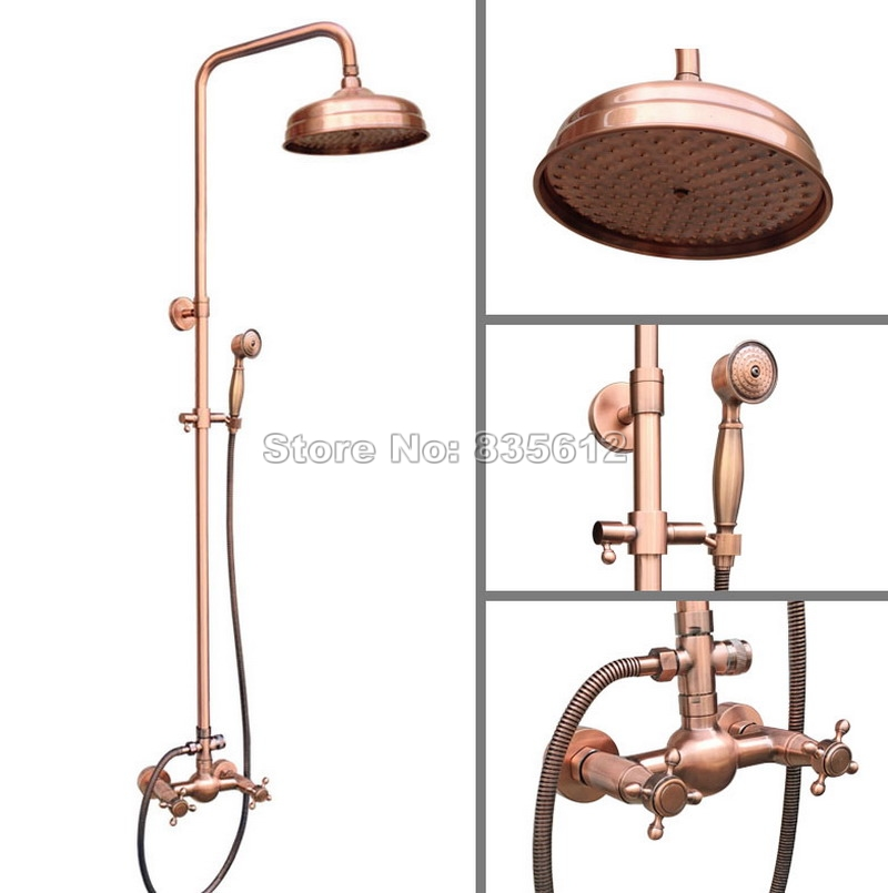 Wall Mounted Bathroom Antique Red Copper 8 Shower Head Rain Shower Faucet Set /Dual Handles Mixer Tap + Handheld Shower Wrg521