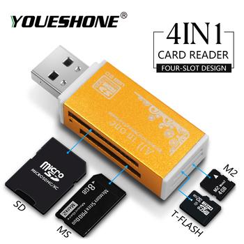 Karta pamięci SD Multi w 1 do czytnika kart pendrive Pro Duo Micro SD TF M2 MMC SDHC MS różne kolory tanie i dobre opinie youe shone Zewnętrzny All in 1 multi w 1 Karty SIM Karty tf reader-01