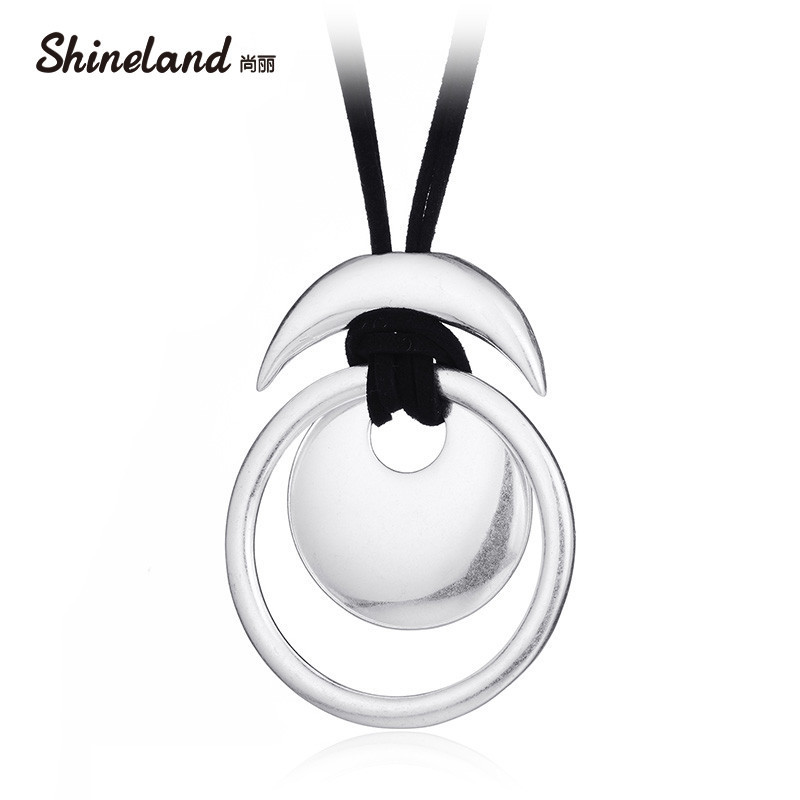 Shineland Two Layers Black Velvet Long Necklaces Rope Leather Circle Moon Hollow Necklace Pendant For Women Vintage Bijoux Gift