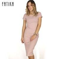 FATIKA Women Casual Summer Dress Short Sleeve O Neck Bodycon Dress Striped Side Split T Shirt