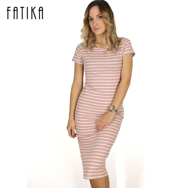 FATIKA Women Casual Summer Dress Short Sleeve O-Neck Bodycon Dress Striped Side Split T Shirt Women's Slim Fit Dresses
