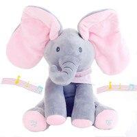 30cm Electric Elephant Peek A Boo Plush Soft Toy Animal Stuffed Doll Play Hide Seek Cute