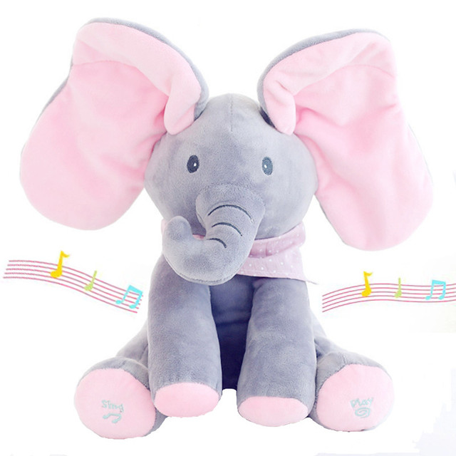 30cm Play Music Elephant 2017 Electric Elephant Peek a boo Plush Soft Toy Animal Stuffed Doll Play Hide Seek CuteEducational Toy