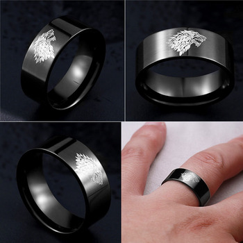 Stainless Steel ring Game of Thrones ice wolf House Stark of Winterfell men ring Laser engraved Viking Wolf Ring