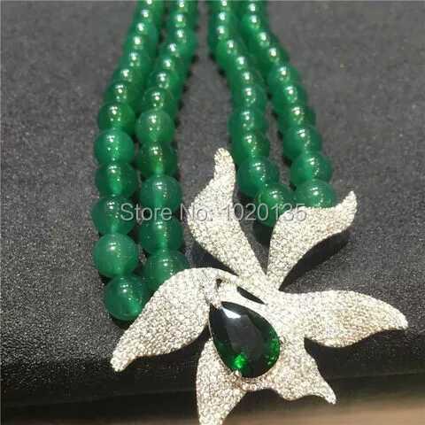 2rows grüne JADE runde Halskette 10mm 18-19inch Großhandelsnatur - Edlen Schmuck - Foto 2
