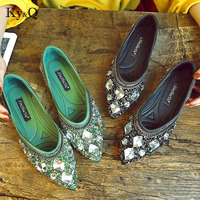 Luxury Rhinestone Ballet Flat Shoes Women Spring Autumn Butterfly Pointed Toe Golden Shoes Loafers Size 40