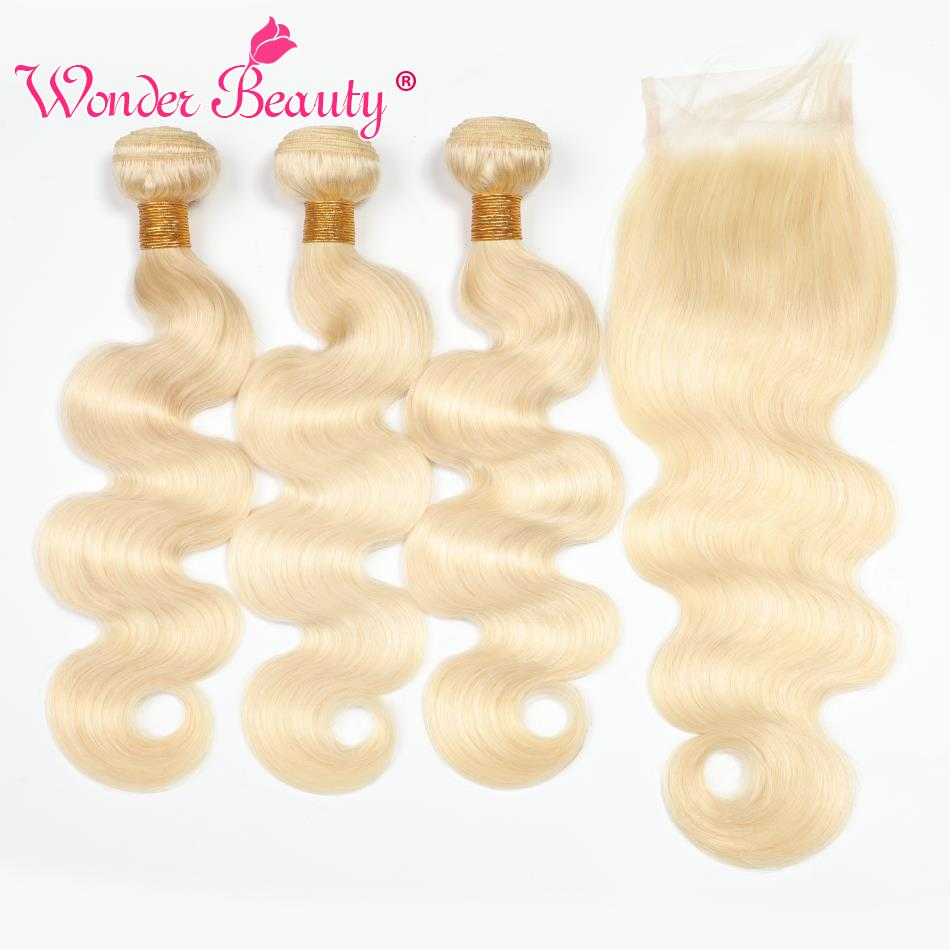 Wonder Beauty Hair Brazilian Body Wave 613 Blonde Human Hair 3 Bundles With Closure Remy Hair Extension 10 24inch Hair No Tangle-in 3/4 Bundles with Closure from Hair Extensions & Wigs    1