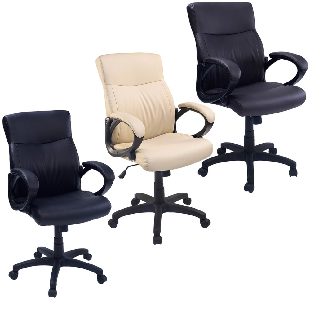 New 2016 Office Chair Padded PU Leather Executive Swivel Computer Desk Study Chair  CB10052 2 pc high quality swivel office furniture computer desk office chair in pu leather chair bar stool new hw50129 2bk