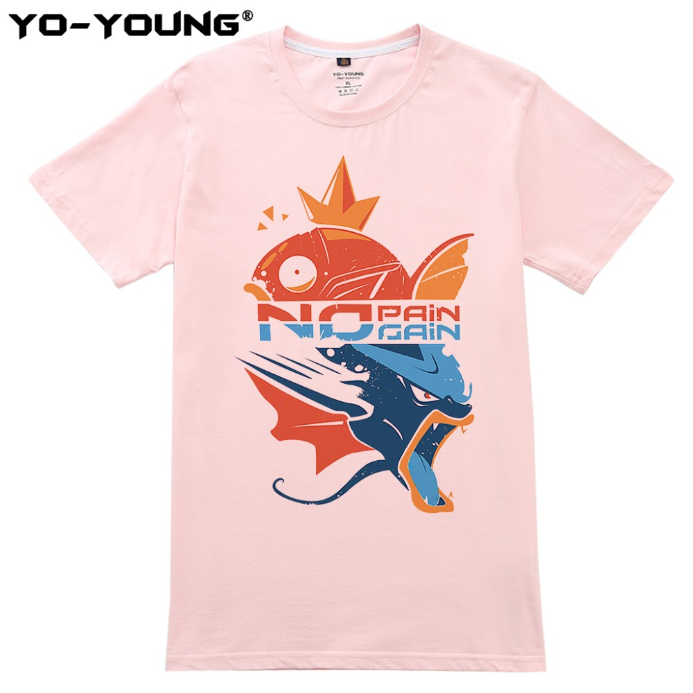 90d62da2 POKEMON No Pain No Gain T Shirts Men Magikarp Gyarados Design Digital  Printing 100% 180 gsm Combed Cotton Casual Customized-in T-Shirts from  Men's Clothing ...
