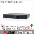 Versão inglês DS-7716NI-E4/16 P 16CH Gravador de Vídeo em Rede NVR com 16 POE Câmera IP Da Interface SATA 4 para HDD Suporte de Atualização