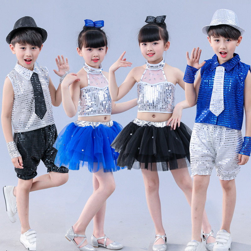 Children Jazz Dance Costumes Sequins Street Dance Boys Girls   Sequins Veil Club Party Stage Performing Costume Set 90-150cm