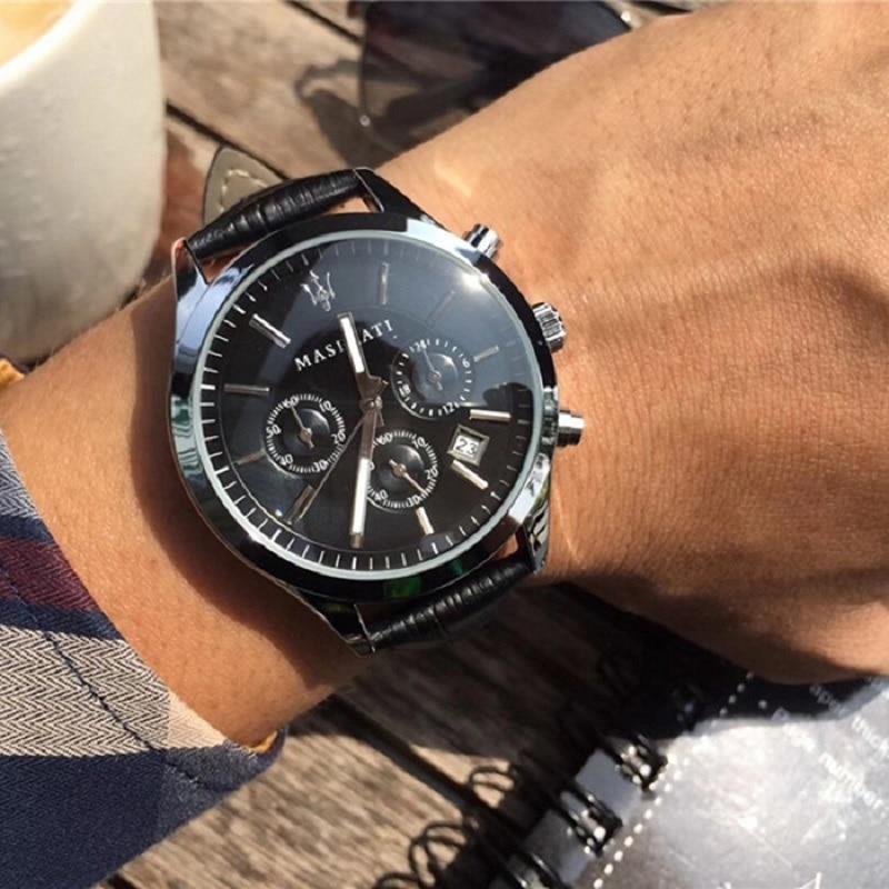 Maserati Quarz Armbanduhren Casual Wasserdicht Uhren Runde Edelstahl Zifferblatt Business Komplette Kalender Uhr 8712749
