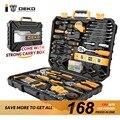 DEKO 168 Pcs Handgereedschap Set Algemene Huishoudelijke Hand Tool Kit met Plastic Toolbox Opslag Case Dopsleutel Schroevendraaier Mes