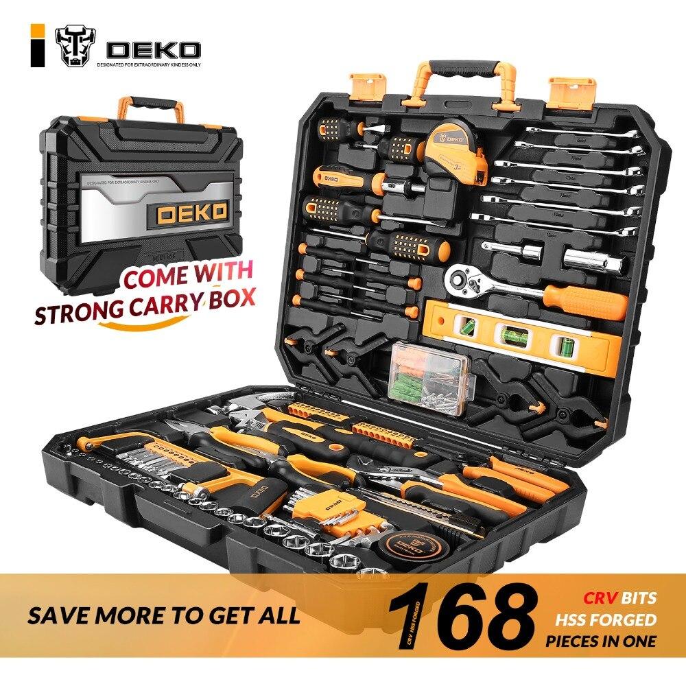 DEKO 168 Pcs Mão Conjunto de Ferramentas de Uso Doméstico Em Geral Mão Tool Kit com Caso de Armazenamento de Plástico Caixa De Ferramentas Chave Soquete Chave De Fenda Faca