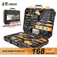DEKOPRO 168 Pcs Hand Tool Set General Household Hand Tool Kit with Plastic Toolbox Storage Case