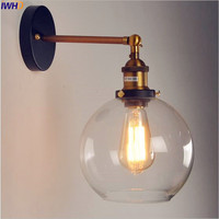 IWHD Glass Ball Retro Wall Lights Fixtures Dinning Room LED Stair Lights Industrial Wall Lamp Vintage Wandlampen Loft Style
