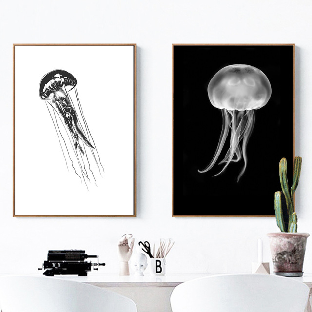 Watercolor Jellyfish Wall Art Canvas Painting Black White Nordic Posters And Prints Canvas Art Wall Pictures For Living Room
