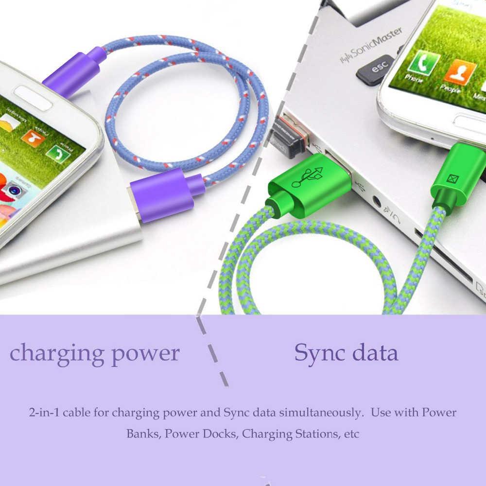 كابل USB مجدول من النيلون 1 متر/2 متر/3 متر كابل شاحن USB لمزامنة البيانات لهواتف سامسونج وهواوي وشاومي وكابل هاتف يعمل بنظام الأندرويد USB