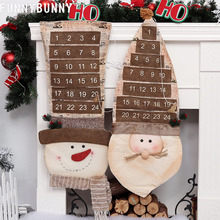 FUNNYBUNNY Lovely Christmas Ornaments Countdown Calendar Eve Gift Pendant Snowman Santa Claus
