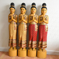 Thailand Female Woodcarving Characters Savoy Di Card Door Boy Handicraft Ornaments Southeast Asian Home Decoration