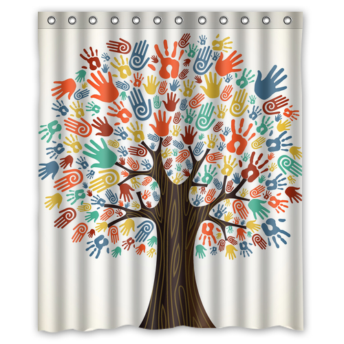 Bathroom Rugs 36 X 72: High Hands Tree Multicolor Fashion Print Custom Shower