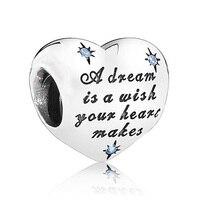 Аутентичные 925 пробы Серебряный бисера Шарм Золушка Любовь Сердце мечта с Хрустальные Бусины Fit Пандора браслет ювелирных изделий Diy