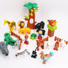Big Animals Happy Zoo Legoingly Duploe Diy Sreies Model Figure Building Blocks Set Elephant Horse Toys For Children Birthday(China)