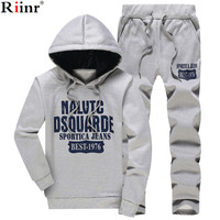 Riinr 2017 Fashion New Arrival Sporting Suit Men Spring And Autumn Casual Hoodies Two Piece Sets Solid Color Printing Tracksuit
