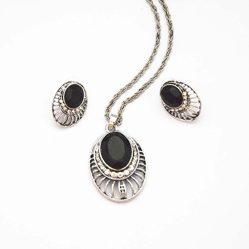 vintage silver tone women party costume jewelry set
