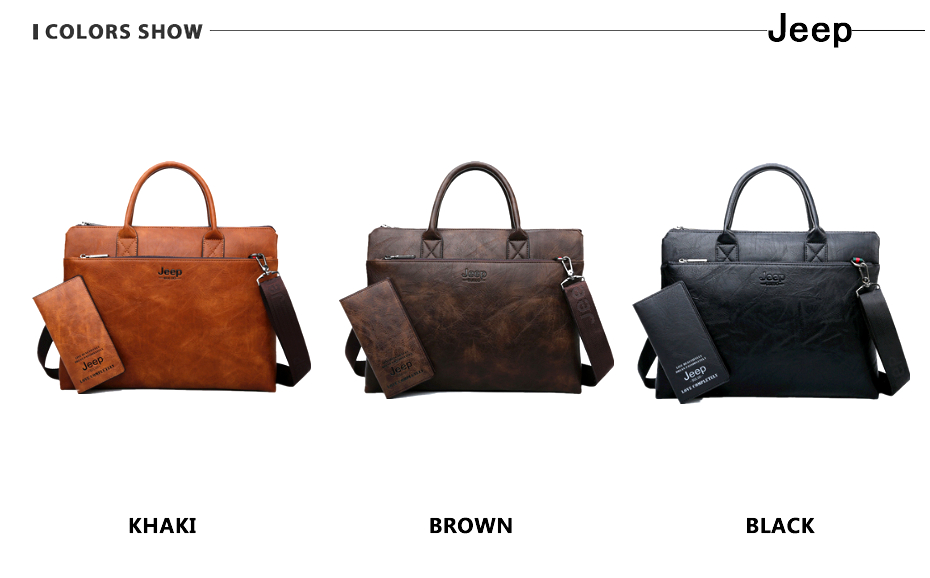 JEEP BULUO High Quality Men Briefcases Set For 14 inch Laptop Business Bags Handbags Leather Office Shoulder Bags Large Capacity